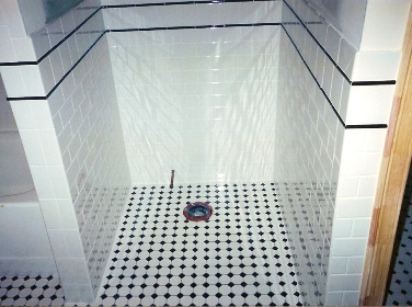 Black And White Tile Bathroom Accent Color - Bathroom Design Ideas