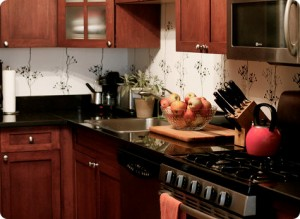 From Design*Sponge, I love the FermLiving wallpaper and black countertops